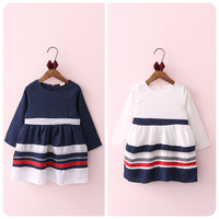 New Pattern 2016 Autumn Korean Girl Children's Garment Stripe Navy Wind Dress Girl Baby A Doll Jacket