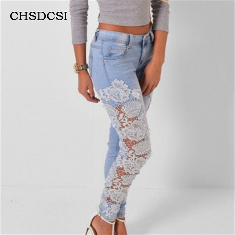 CHSDCSI Sexy Women's Denim Light Blue Skinny Jeans Crochet Lace Party Slim Pants With Hollow Out boyfriend jeans women Trousers sexy women denim light blue skinny jeans crochet lace party female carve flower pants for women plus size s 3xl clothing k096