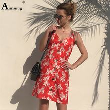 Flower Print Sleeveless Single-breasted Knot Back Women Dress 2019 Red A Line High Waist Summer Spaghetti Strap Elegant Dresses недорого