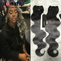 BQ Hair 8A Remy Ombre Dark Grey Body Wave Malaysia Virgin Hair 4 Bundles 10-18Inches Malaysian Body Wave