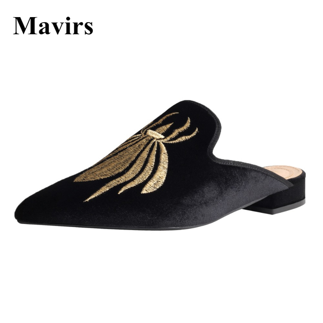 Womens summer Pointy toe Embroider Slipper Loafer Mules Causal shoes Fashion 20