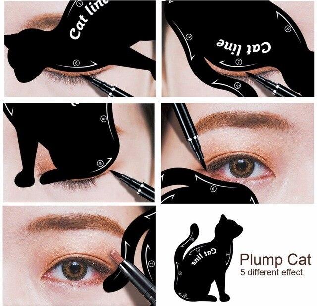 2packs Eye Liner Makeup DIY Cat Eye Eyeliner Stencil New Design Eyebrow Stencils Models Eyebrow Eyes Liner Template Shaper Tools 2
