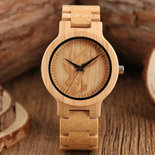 Full Wooden Creative Watches Casual Bamboo Wood Mens Wrist Watch Nature Band Fold Clasp Quartz Women Clock