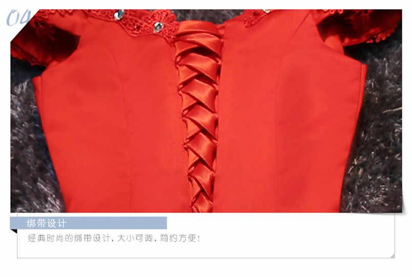 סקסי כבוי כתף שמלה לנשף תחרה עד קצר אדום/לבן שושבינה שמלות עם פאייטים ואגלי & אפליקציות Vestido דה גאלה