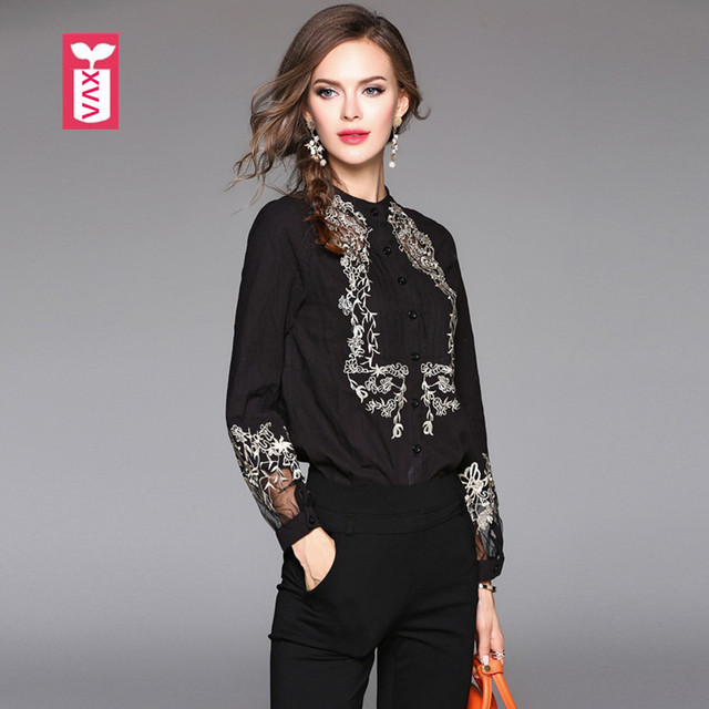 High-end Women Brand Embroidery Cotton Blouse Long Sleeve Party Shirt Femme  Chemise Banquet Tees