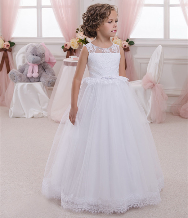 New Flower Girls Dresses White Lace Solid Backless O-Neck Sleeveless First Communion Dresses for Girls Customized SizeNew Flower Girls Dresses White Lace Solid Backless O-Neck Sleeveless First Communion Dresses for Girls Customized Size