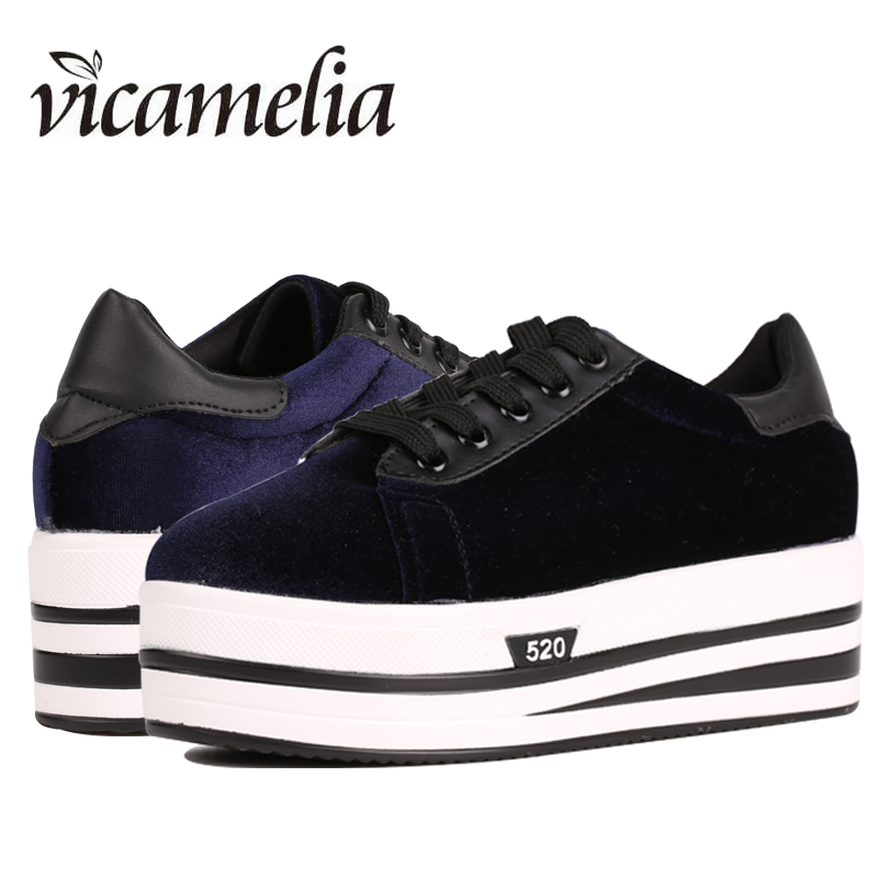 Women Platform Sneakers 2018 Fashion Vintage Lace Up Korean Velvet Women's Casual Flats Shoes Ladies Flat Platform Vicamelia 023 lace up flatform velvet sneakers