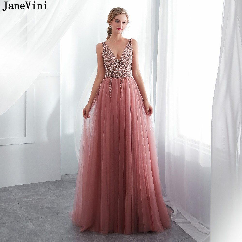 JaneVini Luxury Long   Bridesmaid     Dresses   Sexy Deep V Neck Backless Sweep Train High Split Beading A Line Tulle Formal Prom Gowns