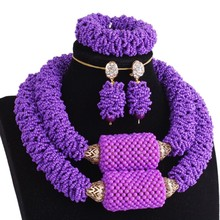 African Jewelry Set beads Purple Big Balls Luxury Bridal Necklace Set of Jewelry Nigerian Beads Sets Free Shipping Christmas 2016 gorgeous red african wedding beads jewelry set luxury nigerian bridal jewelry set crystal necklace set free shipping alj353