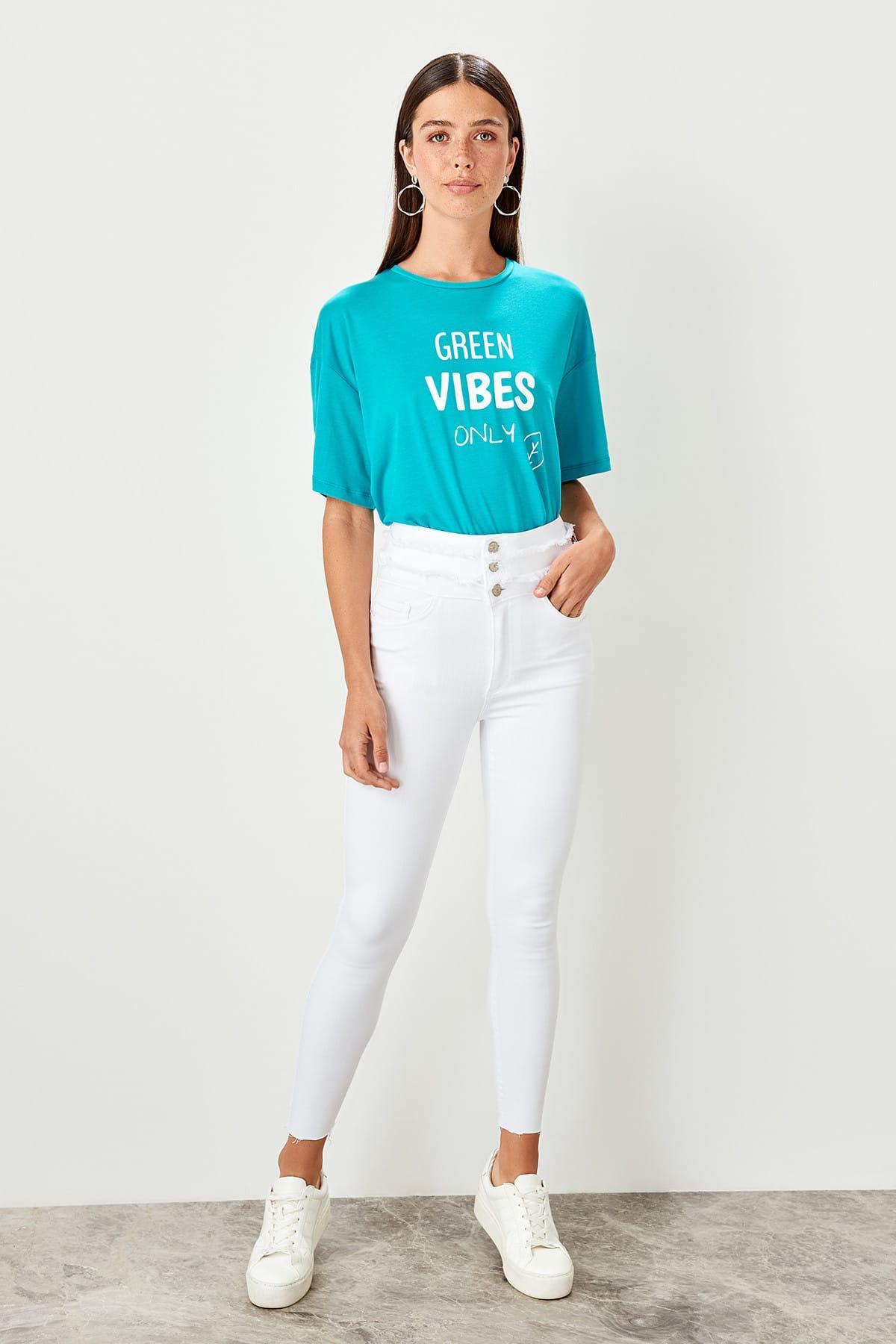 Trendyol White Waist Tassel Detail Super High Waist Skinny Jeans TCLSS19LR0018
