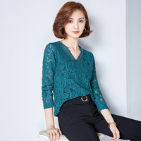 Blusas Femininas 2016 Autumn Women Blouse Lace Vintage Long Sleeve V Neck Crochet Casual Shirts Tops