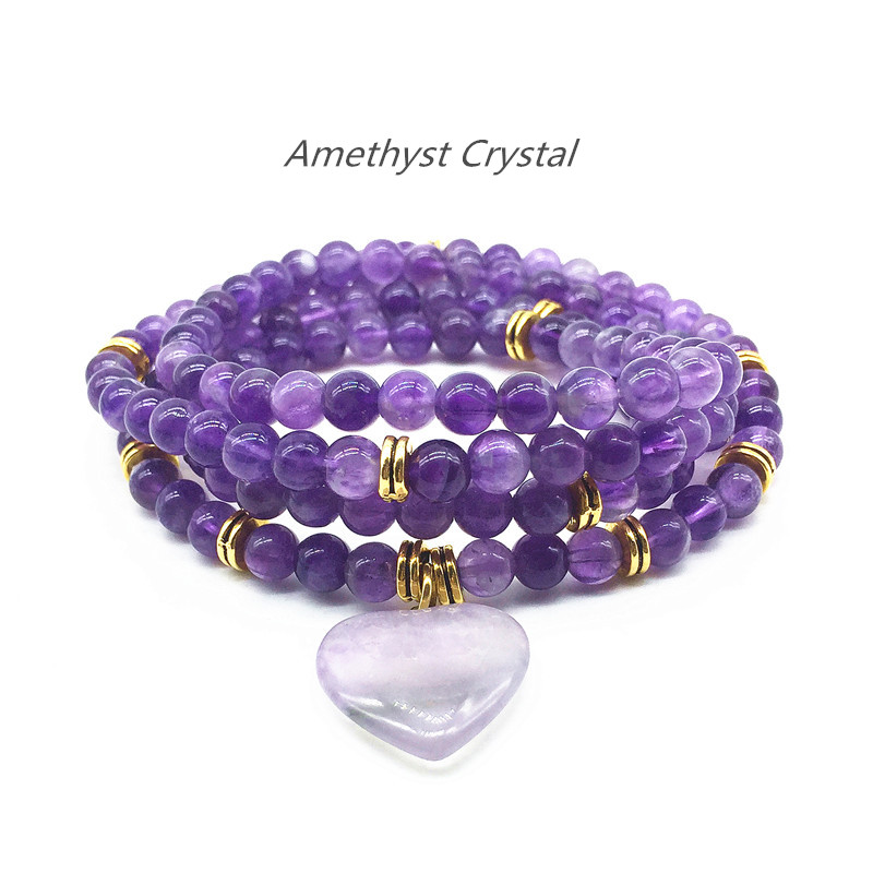 Beadztalk Women Charm Bracelet Natural Amethysts Purple Crystal 6 mm Round beads Yoga Necklace Heart Jewelry trendy letter heart round rhinestone bracelet for women