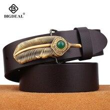 BIGDEAL Genuine Leather Men Belts 3.8cm Width Cowskin Leathe