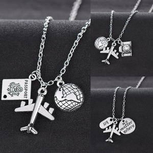 Best Friends Wanderlust Travelers Necklaces Gift Globe Earth Aircraft Plane Passport Pendant Traveling The World Necklace Collar(China)