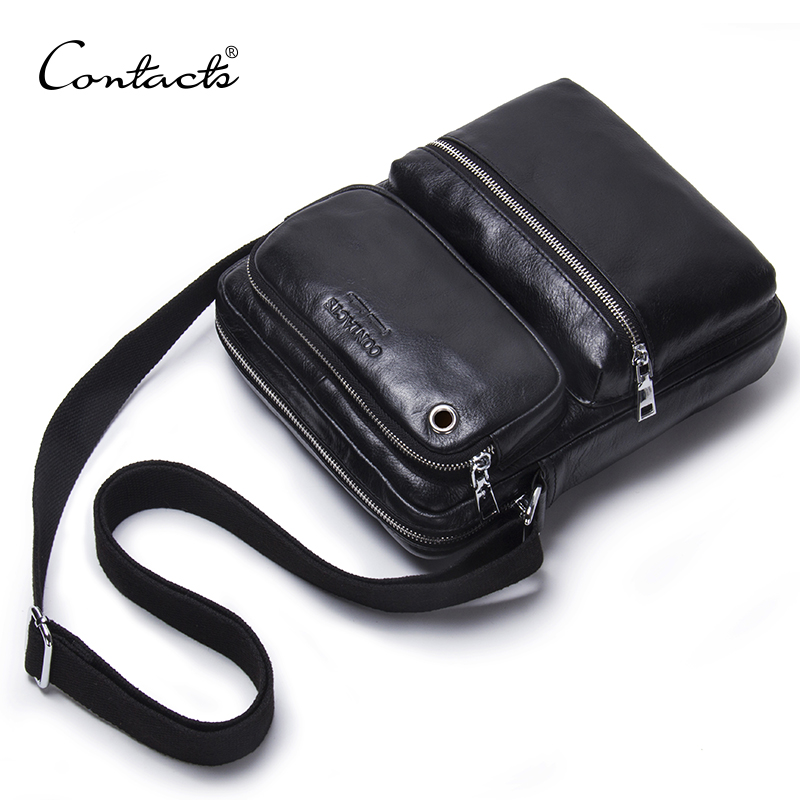 CONTACT'S Genuine Leather Heren Tas Mannelijke Schoudertas Small Heren Crossbody Tassen Fashion Man Casual Black Messenger Bags Bolsas