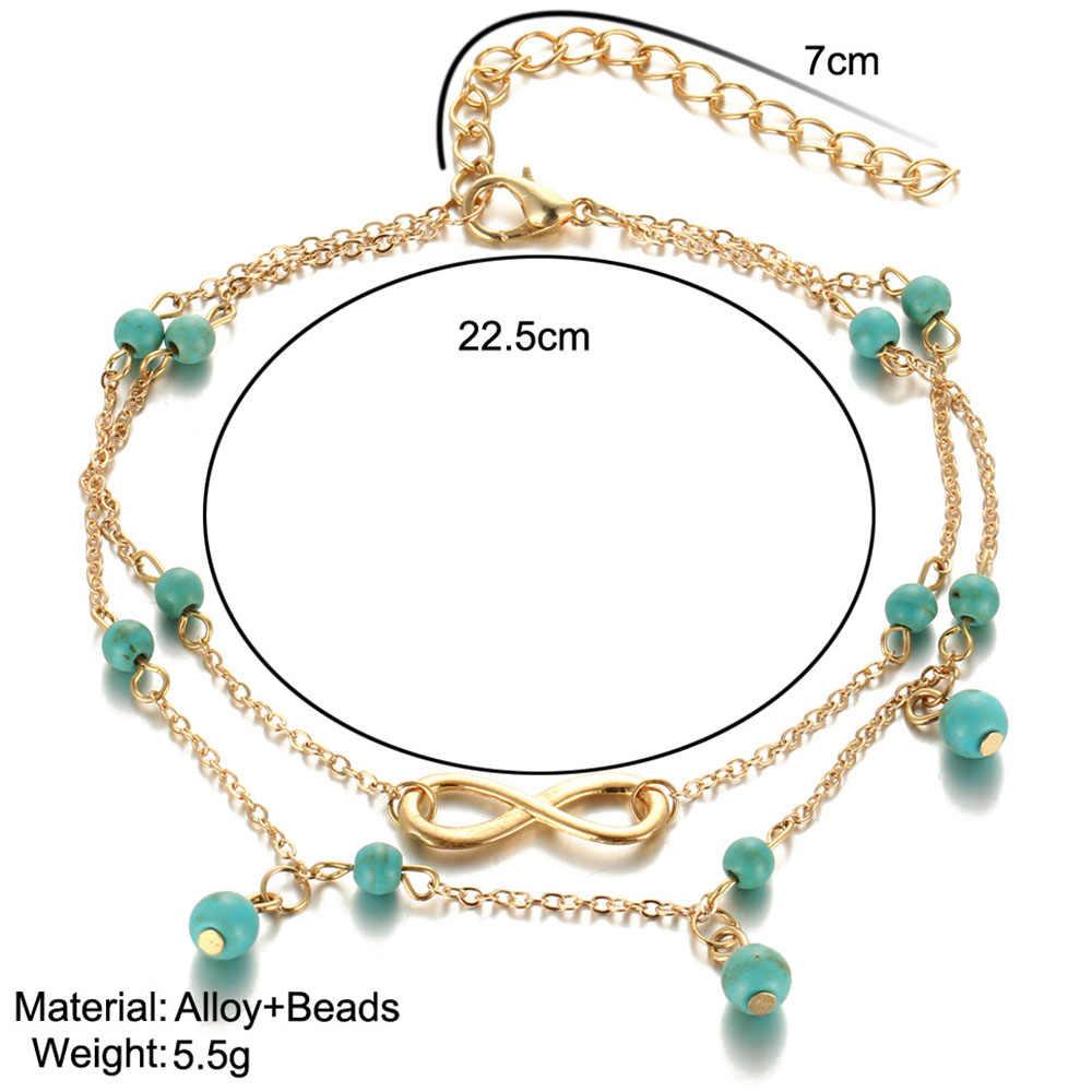 Liuyuwei Винтаж под старину браслет золотого цвета Для женщин каменных бус в богемном стиле ботильоны браслет Cheville Бохо бижутерия для ног YWHZS404