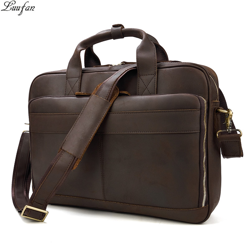 Men s Crazy horse leather briefcase 14 laotop genuine leather business bag handbag Real leather Work