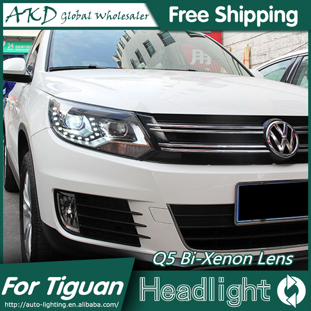 AKD Car Styling for VW Tiguan Headlights 2013 New Tiguan LED Headlight LED DRL Bi Xenon Lens Headlight High Low Beam Parking union car styling for ford fusion headlights 2013 2015 new fusion led headlight original drl bi xenon lens high low beam parking