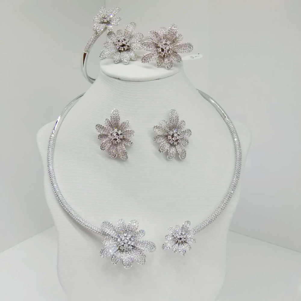 GODKI Luxury Daisy Flower Cubic Zirconia African Silver Necklace Earring Set Nigerian Bridal jewelry set For Women Dubai Jewelry