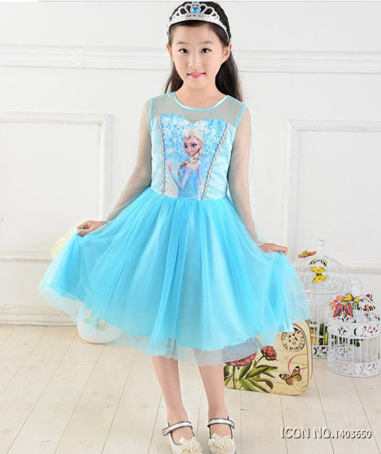 2017 Hot Sell Elsa Anna Girls Princess Children Dress Party Fantasia Cloth Vestidos Infants Dress Summer Baby Kid Custom Dresses spider man play arts kai juguetes pvc action figure amazing spiderman play arts spider man kids toys brinquedos