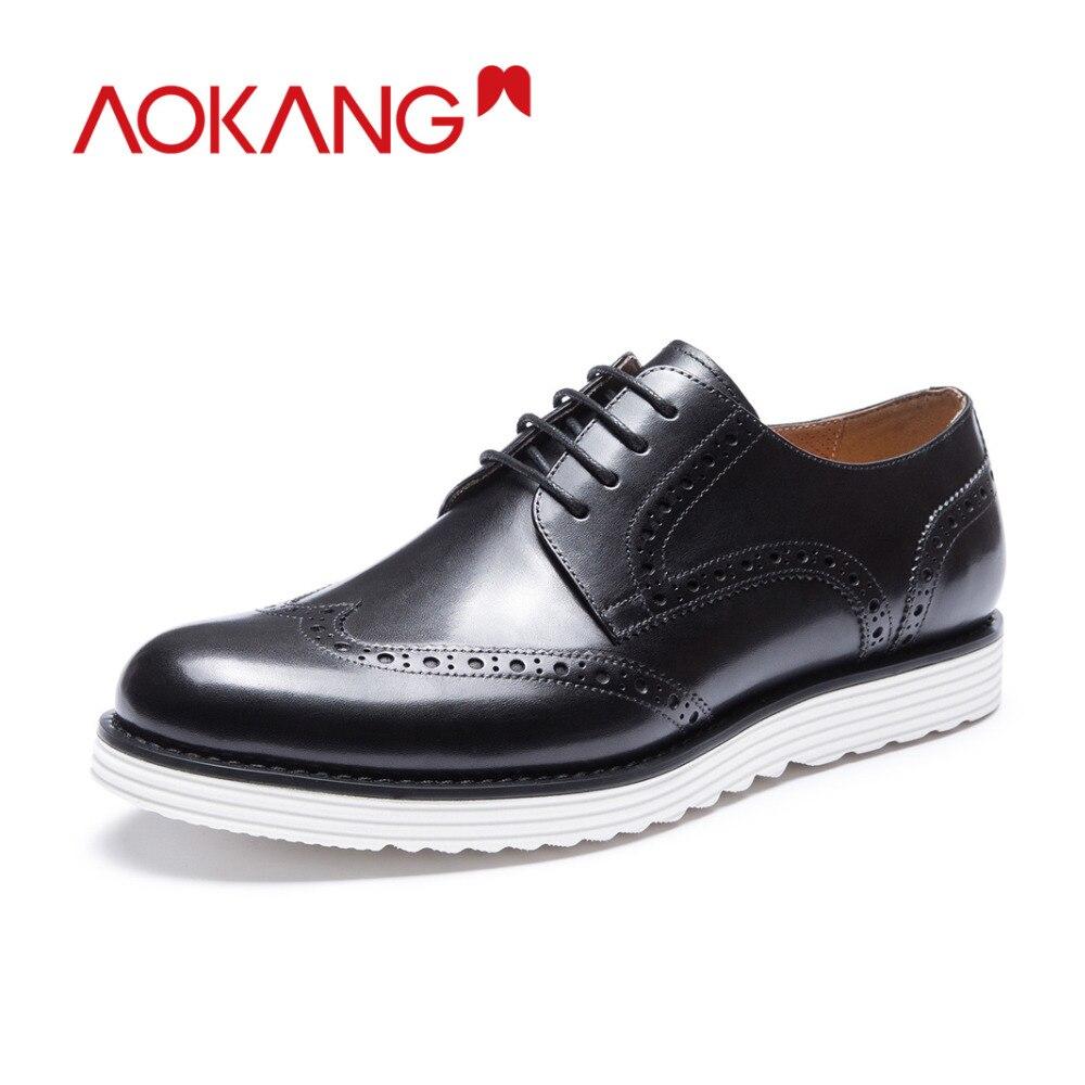 AOKANG 2018 Новое поступление мужская обувь из натуральной кожи Мужская Высокое качество обувь с перфорацией типа «броги» комфортные классичес...