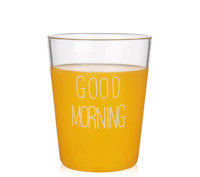 New Good Morning Breakfast Glass Cup Exquisite Creative Practical Fashion Drinking Cup Transparent Adiabatic Milk Drinkware C438