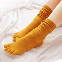 4 pairs feminino cinco dedos meias de algodão médio meias altas 5 dedos elásticos meias
