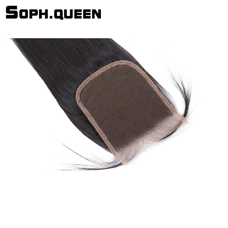 Soph koningin haar rechte golf bundels met sluiting Braziliaanse - Mensenhaar (voor zwart) - Foto 5