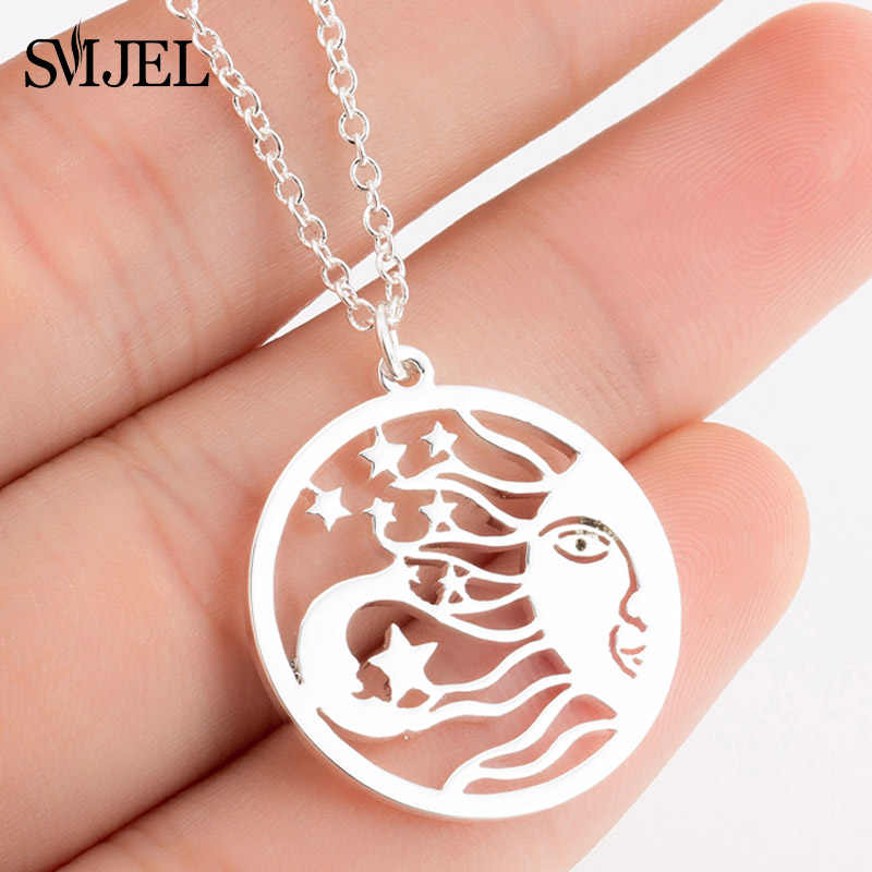 SMJEL Vintage Sun Moon Star Necklace Women Mayan Civilization Jewelry Silver Circle Pendants Necklaces Choker collane