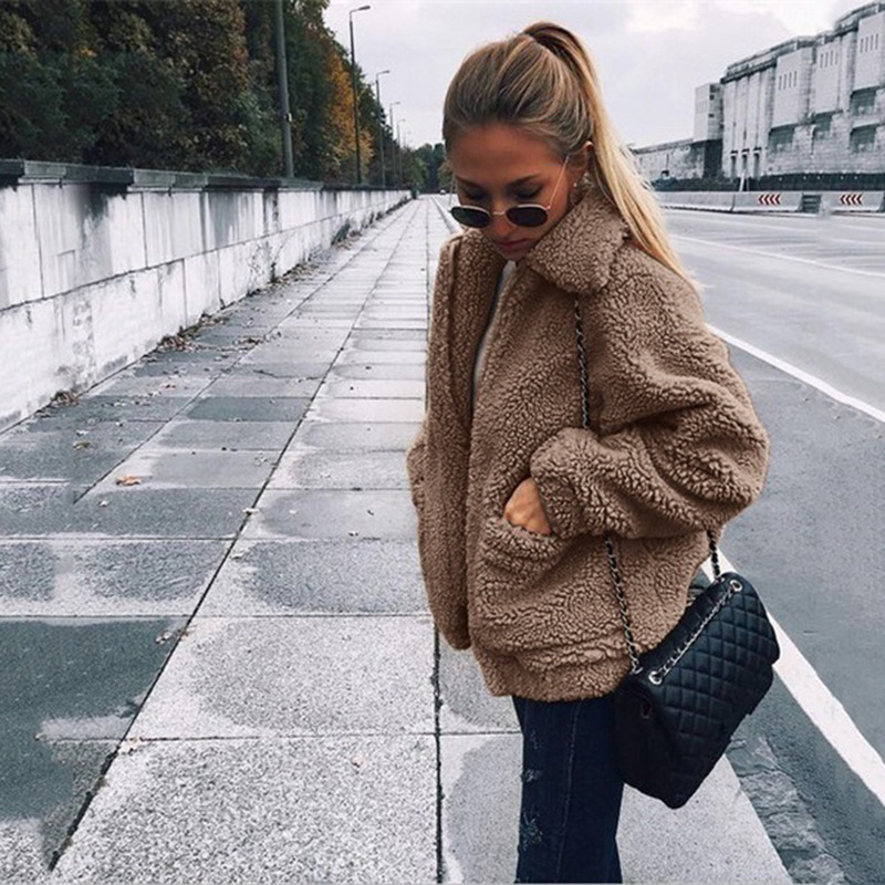 Fur   Jacket   Women 2018 Autumn   Basic     Jackets   Plus Size Winter Warm Soft Zipper Coat Female Plush Loose Casual Outerwear DDR81
