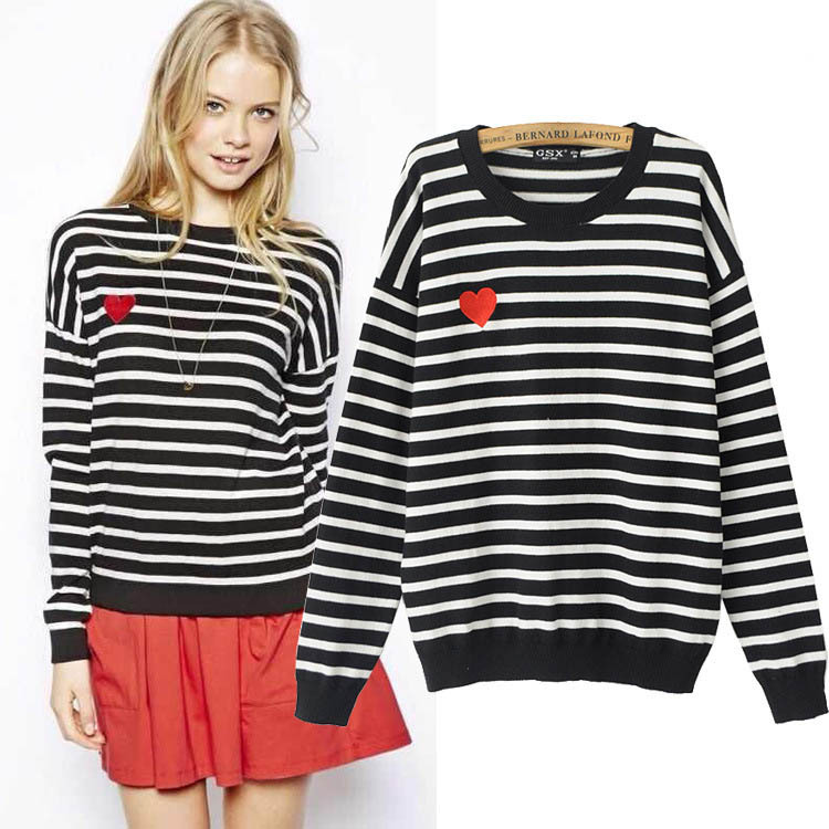 Autumn Fall Fashion 2014 Womens Black/Red Striped Sweater Pullover ...