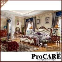 Cor branca Cama de Casal Design  Antigo Francês esculpido painel De Madeira Sólida mobília do quarto de cama de luxo em estilo europeu conjunto meubels