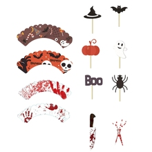 48Pcs Halloween Cupcake Toppers Wrappers Cake Picks Liners Food for Party Supply Decorations