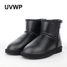 New Top Quality Waterproof Genuine Leather Winter Boots Warm Women Boots Classic Snow Boots Women Shoes Lady Ankle Shoes(China)
