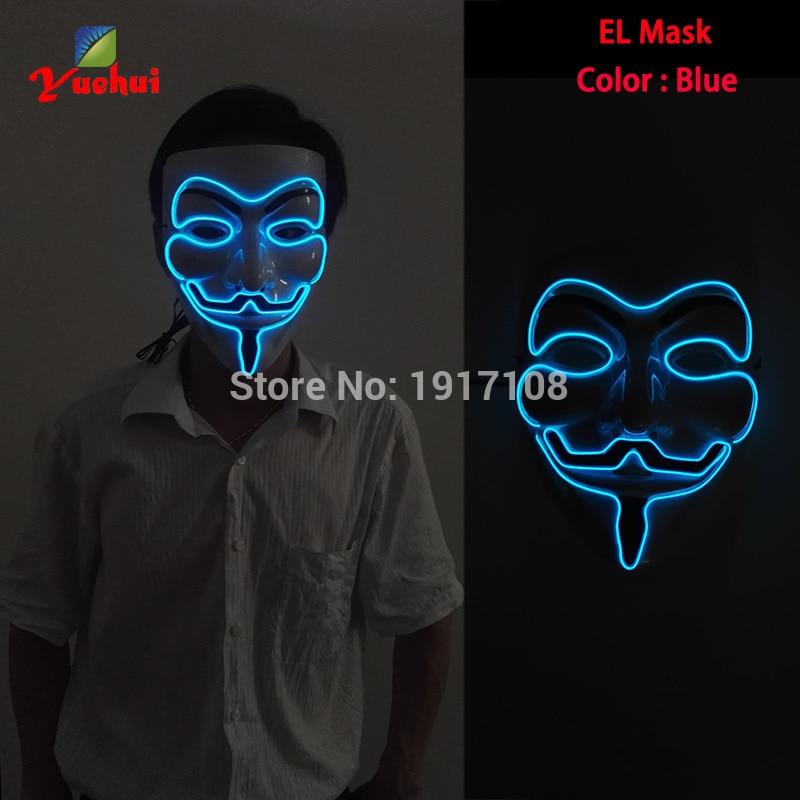 HOT Sales EL wire Masks Halloween Blue Vendetta Mask glowing EL wire ...