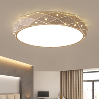 Round Surface Mounted Minimalism Modern Led Ceiling Chandelier Lights For Living Study Room Bedroom White AC85