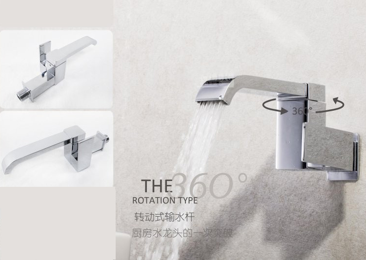 Tall Contemporary Chrome Bathroom Vessel Sink Faucet: Square Wall Mounted Modern Single Cold Water Tap Kitchen