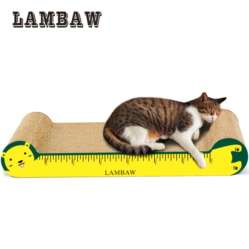 Cardboard Scratching Post Cat Scratcher Ruler Design Sofa Couch Cardboard Paper High Quality Cat Toy -Yellow Color
