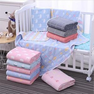 Image 2 - Couverture pour bébé en mousseline de coton 110x110 CM, 6 couches, épais pour nouveau né pour emmailloter, literie, dessin animé, réception