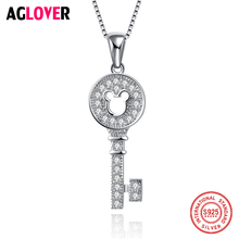2018 Hot Sell Fashion Shiny Crystal Zircon CZ Key Design 925 Sterling Silver Ladies Pendant Necklaces Jewelry Birthday Gift