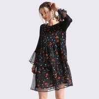 Spring Chiffon Floral Print Women Dress Sexy Female Voile Flare Sleeve Double Ruffles Elegant Casual Short