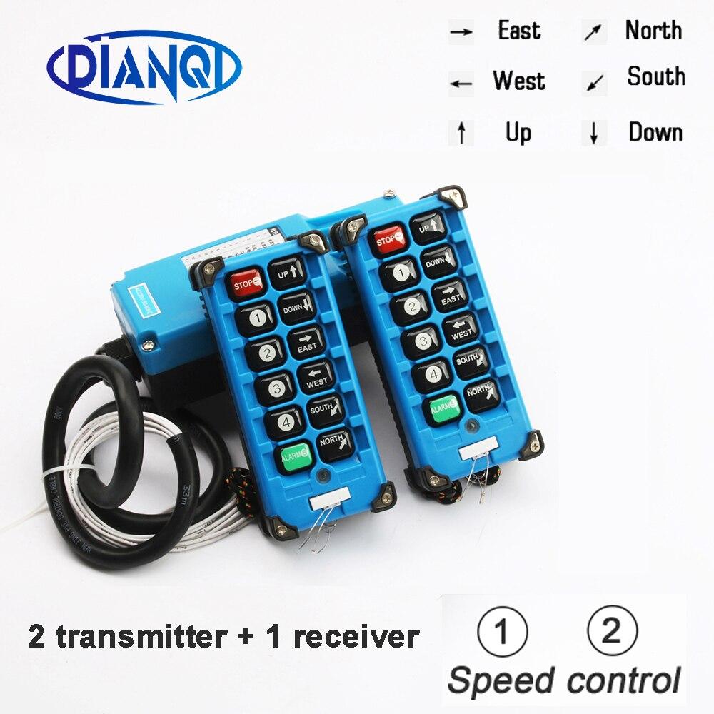 2 émetteurs + 1 récepteur télécommande industrielle commutateurs 10 canaux boutons touches Direction grue grue F21-E1B-8 bleu