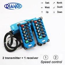 2 transmissores + 1 receptor interruptores de controle remoto industrial 8 canais botões teclas direção grua guindaste F21-E2B-8 azul