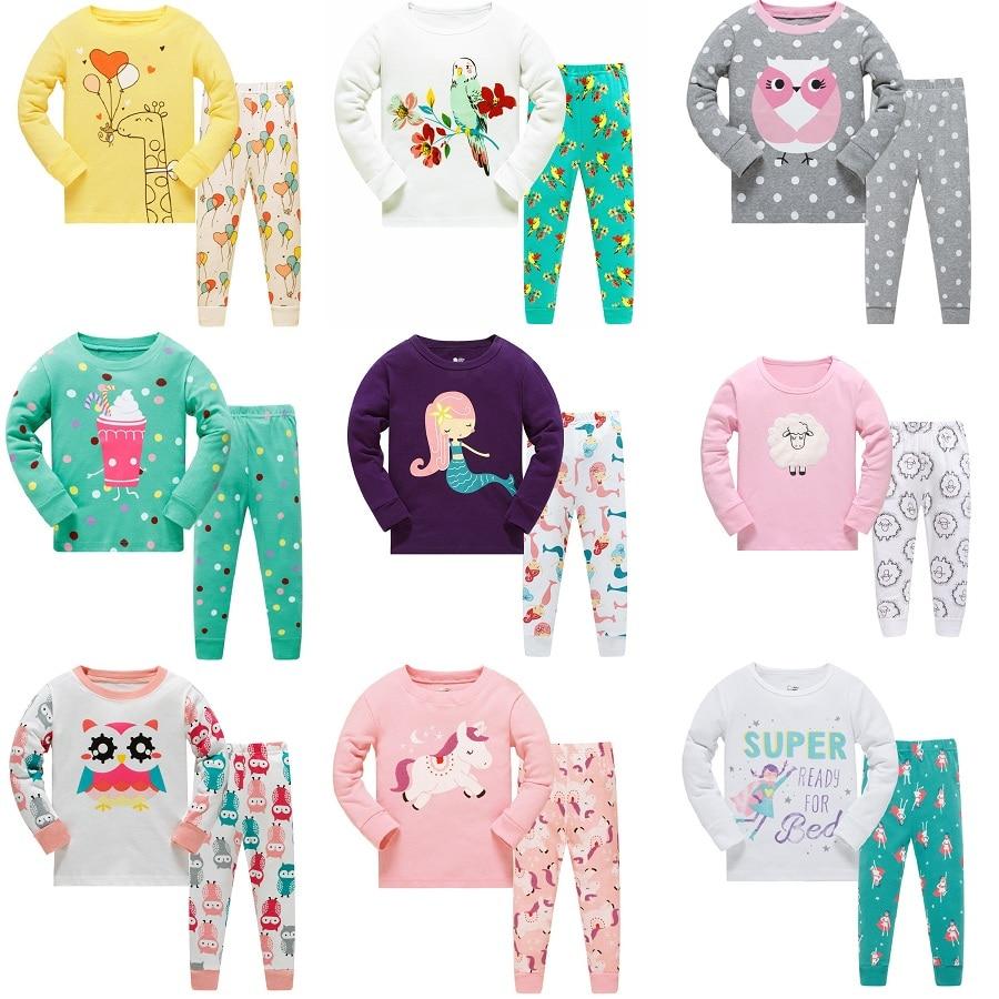 Новинка 2019 года; одежда для сна для девочек; Семейные рождественские пижамы для девочек; Детские пижамные комплекты с героями мультфильмов; детская одежда для сна; пижамы для малышей; От 3 до 8 лет