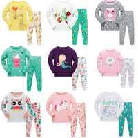 NEW 2019 girlys nightwear girls family christmas pajamas cartoon kids pajama sets,children sleepwear toddler baby pyjamas 3T-8T