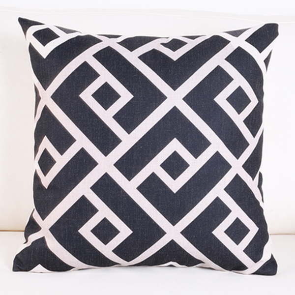 Black White Greek Key Home Decor Geometric Cushion Cover Chic Throw Pillow  Case Linen Cotton Couch
