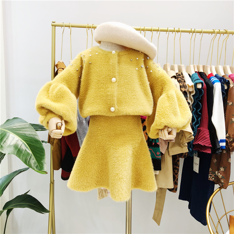 2018 autumn new children's clothing girls lantern sleeve mink cashmere knit cardigan with beaded fishtail skirt waist two-piece checkered fishtail hem skirt