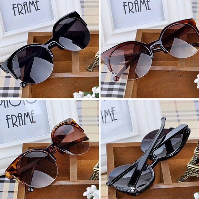 NEW WOMEN BRAND Designer Vintage Sunglasses Woman Semi-Endless Retro Sunglasses Round Oculos De Sol Gafas Mujer 1