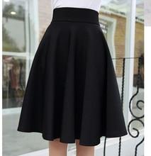 Femininas Fashion Elegant Solid Long Skirts 2017 Street Style Autumn Women's Solid Black Casual High Waist Vintage Midi Skirt