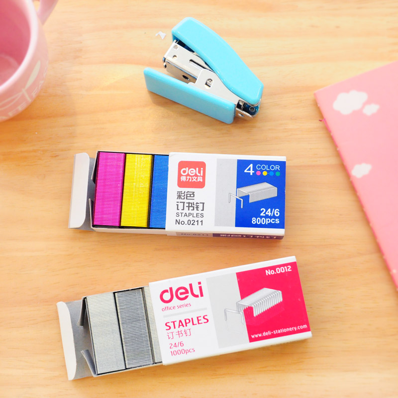1 Pack 12mm/10mm Creative Silver Colorful Stainless Steel Staples Office School Binding Supplies Cute Korean Stationery